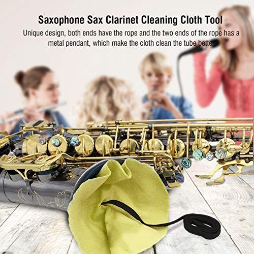 Paño de limpieza de clarinete indeformable de diseño único Limpiador de hisopo de saxofón para amantes del saxofón para flauta para saxofón para saxofón soprano(yellow)