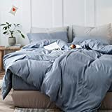 mixinni 3 Pieces Simple Style Duvet Cover King Size Solid Color Blue Bedding Cover Set with Zipper Ties for Him and Her (1 Duvet Cover + 2 Pillow Shams),Easy Care,Soft,Durable (Denim Blue,King)