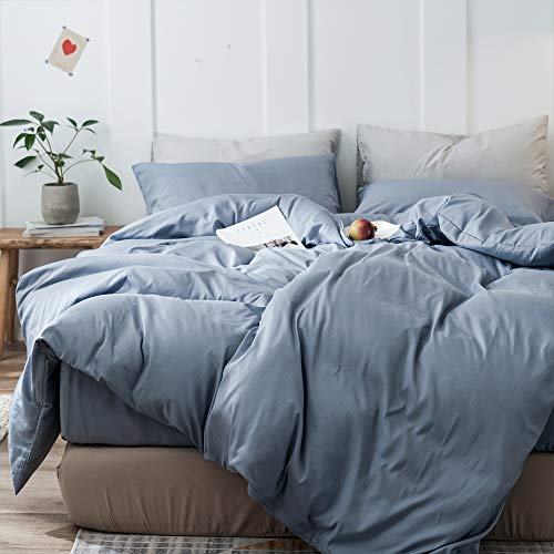 mixinni 3 Pieces Simple Style Duvet Cover King Size Solid Color Blue Bedding Cover Set with Zipper Ties for Him and Her (1 Duvet Cover + 2 Pillow Shams),Easy Care,Soft,Durable (DenimBlue,King)