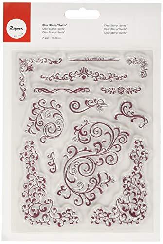 Rayher 57781000 Clear Stamps Swirls, klar, transparent, durchsichtig, 13 Ornamente im Vinagelook, 2 – 9 cm, Stempel, transparenter Silikonstempel für Punkt genaues stempeln, Acrylblock wird benötigt