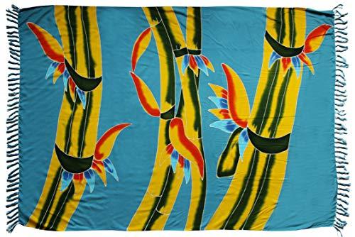 Sarong Sar67 - Toalla de playa, pareo, falda envolvente, color azul bambú