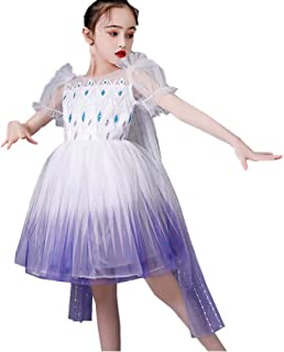 Tsyllyp Girls New Princess Queen Costumes Halloween Christmas Dress Up Cosplay Gradient Color