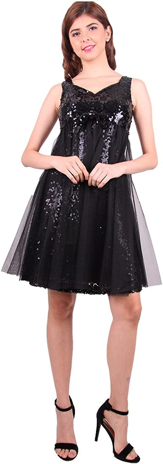 DEMODA FASHION Women' Sequin Mesh Dress for Prom and Wedding Party.