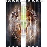 Cortinas opacas con aislamiento térmico, pentagrama en llamas, ceremonia mágica, ritual lucifer, cráneo demoníaco, 52 x 108, cortinas para sala de estar, dormitorio, gris naranja
