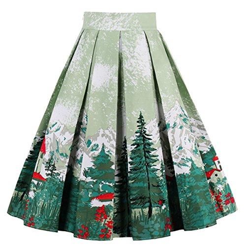 Minetom Mujeres Verano Vintage Cintura Alta Swing Full Circle Plisadas Faldas árbol...