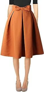 Womens 50s Vintage Skirt Knee Length High Waist Pleated Midi Bow Skirts