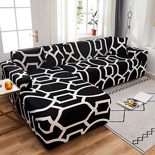 WXQY Chaise Longue Cubierta del sofá de la Sala de Estar Cubierta elástica para el Cabello, Todo Incluido sofá telescópico a Prueba de Polvo en Forma de L sofá A9 de 3 plazas