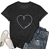 JINTING Blessed T Shirt for Women Blessed Heart Cute Graphic Tee Shirts(S, Blessed-Dark Gray)