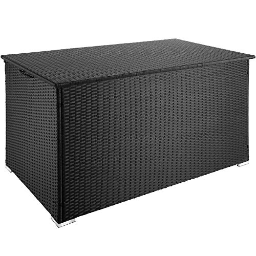 tectakes 800715 Baúl de Almacenaje, Impermeable e Inoxidable, Estructura de Aluminio Poliratán, 750 L, 145 x 82,5 x 79,5 cm (Negro | No. 403274)