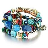 MJARTORIA Femme Bijoux Bracelet Tibétain Perles Bois Multi Rangs Multicolore (vert)
