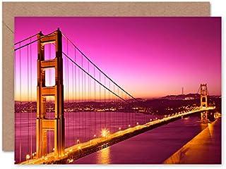Fine Art Prints Golden Gate Bridge San Francisco gratulationskort med kuvert inuti premiumkvalitet