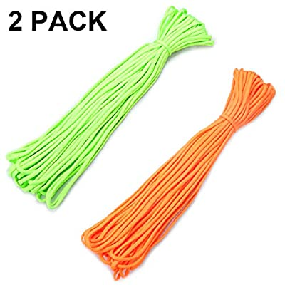 Kabuda Fluorescent Reflective Guyline, 2 Pack Tent Ropes, Camping Paracord Tactical Nylon Parachute Cord Combo, Mil-spec, Commercial Grade, 550 lb, Survival, Outdoor Activities (50 ft Each)