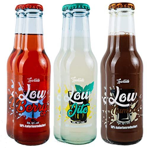 Lowtails | Lowcarb Cocktail Probierset | Kalorienreduzierter Mojito, Lumumba & Berry | 6x0,2l 10% Vol.
