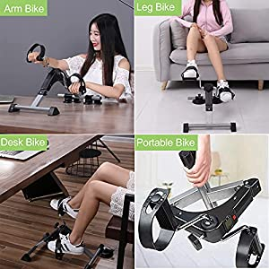 MOMODA Stationary Cycle Pedal Exerciser Desk Exercise Bike with LCD Monitor Foldable (Black/Green)