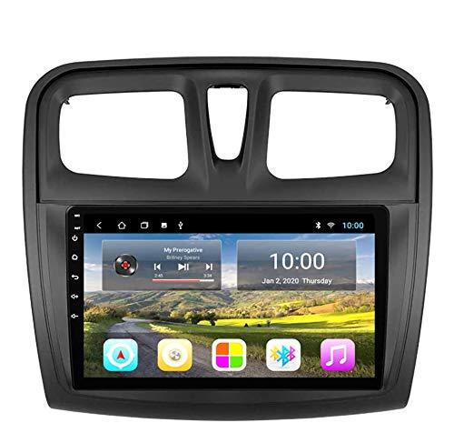 Navegación GPS, 10.1 pulgadas 2.5D Pantalla táctil Android 9.0 Sistema de navegación GPS Wifi Bluetooth Radio para automóvil para Renault Sandero 2014-2017, Navegación GPS DvD para automóvil, 4G + WI