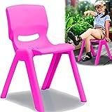 Kinderstuhl mit gummierten Füßen bis 100kg belastbar stapelbar und kippsicher Indoor und Outdoor geeignet (aus Kunststoff) (Pink)