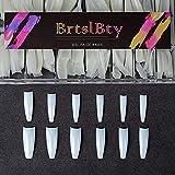 BrtslBty BT-P36-N Clear Nail Tips Arcylic Fake Coffin Nail Tips Half Cover False Nail 504 Pcs 12 Sizes with Case For DIY Nail Art and Nail Salons