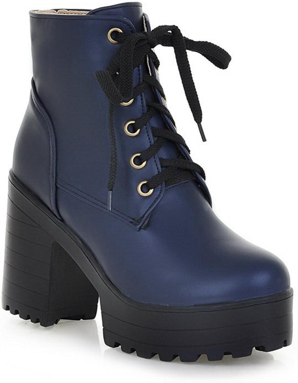 Ladola Girls Lace-Up Platform Round Toe Imitated Leather Boots