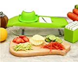 WENYAA Mandoline Slicer-Vegetable Grater Cutter For Cucumber Potato Veggie Carrot With 5 Thickness Settings Interchangeable Stainless Steel Blade/Safety Food Holder/Vegetable Peeler/Cleaning Brush