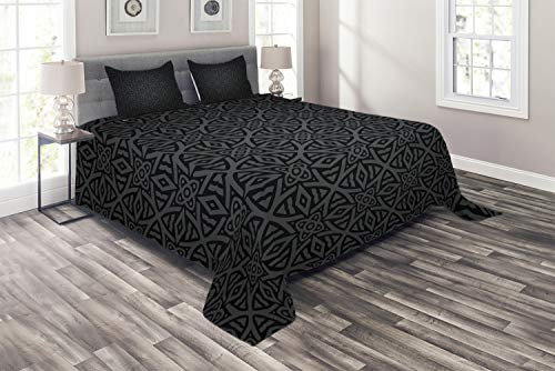 Ambesonne Dark Grey Coverlet, Medieval Folkloric Ornament Celtic Pattern Vintage Style Abstract Floral Circles, 3 Piece Decorative Quilted Bedspread Set with 2 Pillow Shams, King Size, White Blue