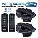 VNETPHONE Motorcycle Communication Systems, V8 Bluetooth Interphone Headsets - Handlebar Remote FM Radio NFC 1200M - 5 Riders Full Duplex Bluetooth Handsfree Intercom Speaker (2 Units)