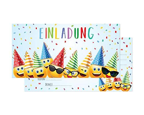 Friendly Fox Einladung Party Emoji - 12 Smiley Einladungskarten Geburtstag Kinder Junge Mädchen - Einladung Kindergeburtstag - Partyeinladung Smiley - inkl. passende Umschläge