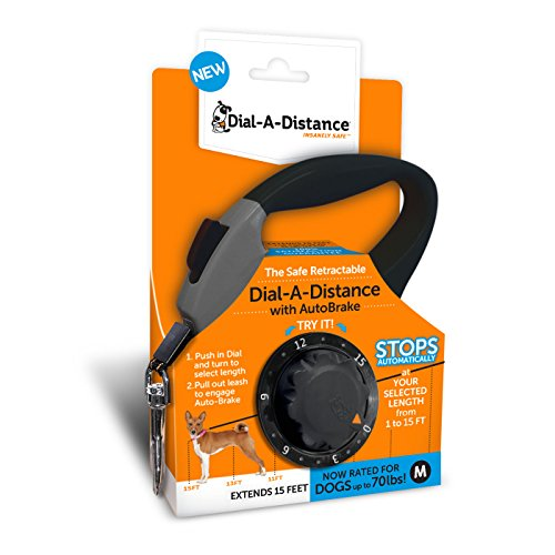 Dial A-Distance Retractable Dog Leash, Adjustable 0 to 15 Feet, Auto Brake and One Button Lock