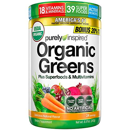Purely Inspired Organic Greens Powder, 39 Superfoods, Multivitamins, Healthy Nutrition on the Go, Fruits, Vegetables, Probiotics, 18 Vitamins & Minerals, Vegan, Gluten Free, Non-GMO (24 Servings)