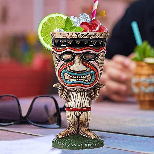 Tiki Tazas para cócteles, vasos de cerámica tiki novedosos vasos de cerámica con temática hawaiana para cócteles y fiestas de Luau, ideal para el hogar (250 ml)