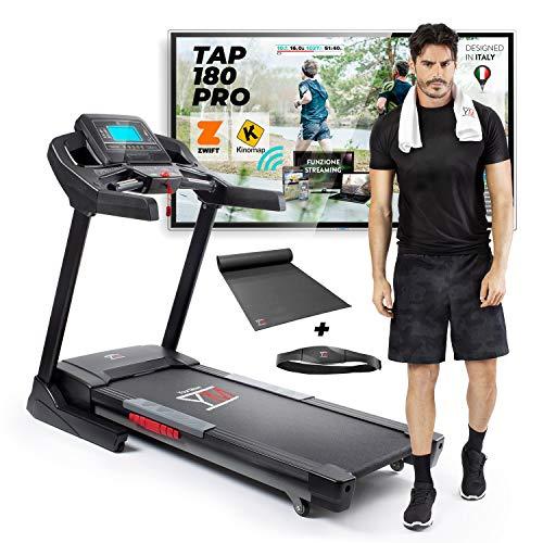 YM TAP180PRO Laufband Professional Faltbares Elektrisches 22 km/h, Kinomap & Zwift App Bluetooth, Lautsprecher, USB/SD/Buchse, 2500 W (7 PS Spitze), Automatische Neigung und Schmierung, Cardio, 150 kg