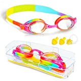 ProChosen Kids Swim Goggles, Waterproof Anti Fog UVA/UVB Protection No Leaking Clear Wide
