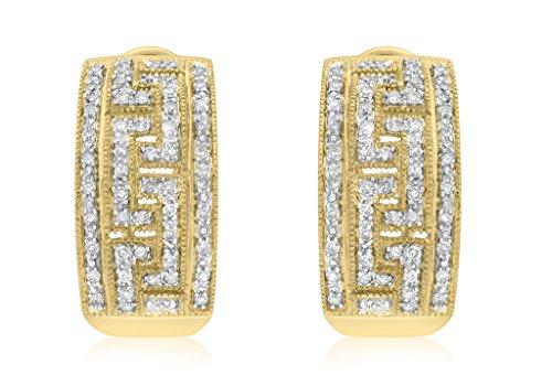 Juego de pendientes de oro amarillo de 9 quilates con diamantes de estilo griego