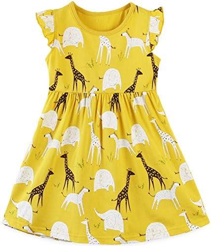 Toddler Girls Cotton Summer Yellow Dresses Lemon Giraffe and Elephant Short Sleeve Casual Tunic product image
