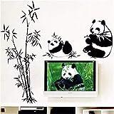 Pandas fai da te famiglia mangia bambù carino adesivo da parete per soggiorno camera da letto decorativa per bambini decalcomania
