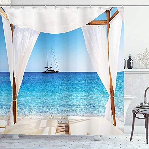 Cortina de ducha balinesa Playa a través de la cama balinesa Sol de verano Cielo despejado Luna de miel Spa natural Tela de tela Decoración de baño con ganchos Aqua CaramelTenda da doccia balinese Spi