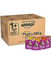 Whiskas 1 + Kattenvoer, Hoogwaardig Nat Voer, In Verschillende Smaken, 120 Portiezakken