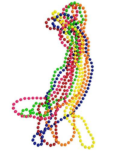 iLoveCos 80er Party Kleid Zubehör Kunststoff Neon Mehrfarbig Perlenkette Perlen Halsketten Fluoreszierende Perlen Set von 6, One Size