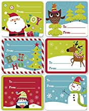 Christmas Gift Tag Stickers 60 Count Jumbo Modern Colorful Xmas Designs For Kids and Adults - Red Green Blue Looks Great on Gifts/Presents, Wrapping Paper and Gift Bags