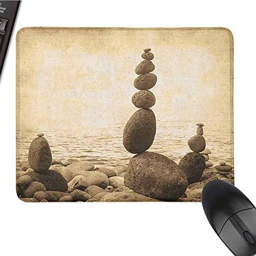 Ocean Customized Personalized Gaming Mauspad Coastal Shore Ruhiges Wasser Zen Print Sepia Big und Small Rocks Pebbles Grunge Artsy Schöner Druck Beige Brown
