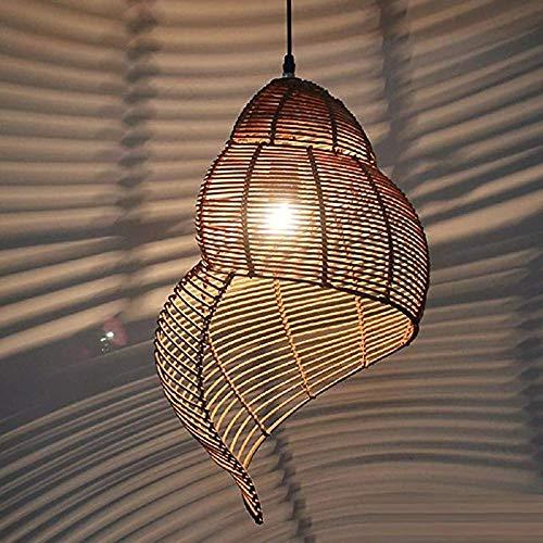 LZZL Handgewebter Rattan Kronleuchter, Schneckenlampe Rattan Muschel Pendelleuchte Südostasiatische Deckenbeleuchtung im ländlichen Stil, Wohnzimmer Esszimmer Schlafzimmer Pastoral Cane Leuchte