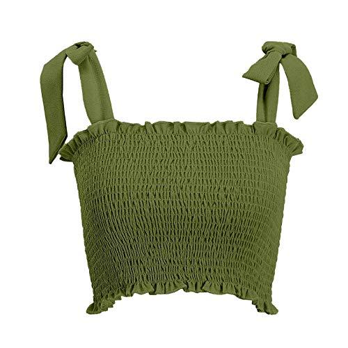 Janly Clearance Sale Blusa para mujer, informal, color sólido, con lazo, camiseta corta, para Pascua, día de San Patricio, color verde