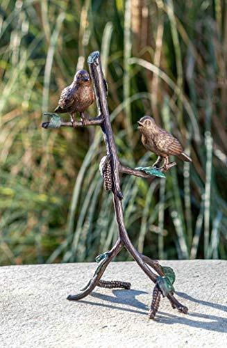 IDYL Escultura de bronce con dos pájaros en rama, 32 x 13 x 19 cm, figura de pájaro hecha a mano, escultura de jardín, salón o estanque, artesanía de alta calidad, resistente a la intemperie