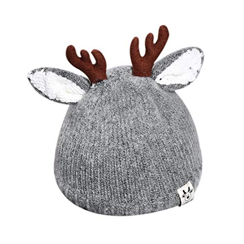 RARITY-US Kids Winter Hat Toddler Pom Pom Knit Antlers Hats Lined Plush Earflap Winter Warm Cap for Girls Boys Baby Gray