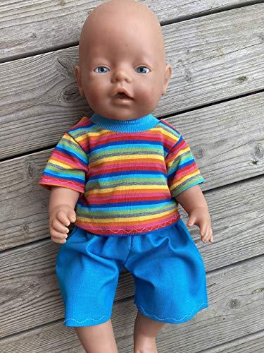 Puppenkleidung handmade passend für Baby Puppe Gr. 43 cm Sommerset Kleidung Bekleidung Shirt + Hose NEU Junge boy brother