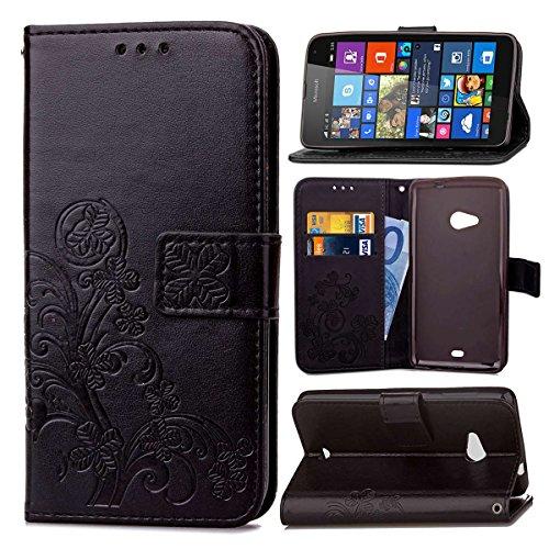 Schutzhülle Für Microsoft Lumia 535 , pinlu® Handyhülle Hohe Qualität PU Ledertasche Brieftasche Mit Stand Function Innenschlitzen Design Glücklich Klee Muster Schwarz