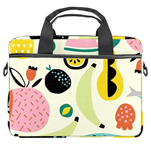 Hand Drawn Fruits Laptop Bag Messenger Bag Slim Briefcase with Crossbody Shoulder Bag Computer Bag Computer and Tablet Carrying Case for 13.4-14.5In
