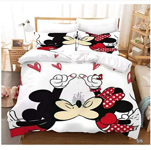 Nat999Lily Anime 3D Impreso Digital Minnie Mickey Mouse Juego De Cama Funda Nórdica Fundas De Almohada Ropa De Cama para Niños Twin Full Queen 200X200Cm