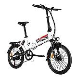 VIVI Bicicleta Plegable Electrica, 20' Bicicleta de Ciudad Eléctrica 350 W Bicicletas Eléctricas para Adultos con Batería Extraíble De 8 Ah, Shimano 7 Velocidades, Suspensión Completa