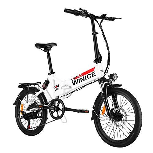"""VIVI Bicicleta Plegable Electrica, 20"""" Bicicleta de Ciudad Eléctrica 350 W Bicicletas Eléctricas para Adultos con Batería Extraíble De 8 Ah, Shimano 7 Velocidades, Suspensión Completa"""