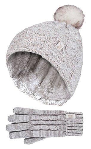 Heat Holders - Kinder Mädchen niedliches Zopfstrick, warmes Fleece gefüttert, Pompon, Wintermütze und Handschuhe mit Bommel Gr. One size, Co5p14